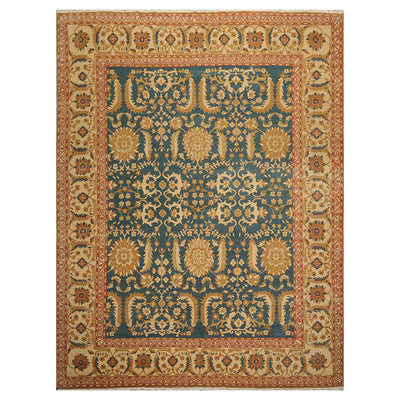 08' 00''x10' 06'' Teal Gold Rust Color Hand Knotted Persian 100% Wool Traditional Oriental Rug