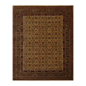 08' 00''x09' 10'' Beige Black Rust Color Hand Knotted Persian 100% Wool Traditional Oriental Rug