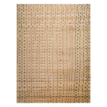 08' 02''x11' 01'' Tan Beige Black Color Hand Knotted Tibetan Wool and Silk Modern & Contemporary Oriental Rug