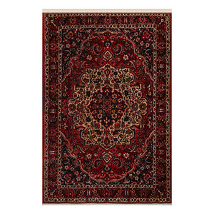 07' 00''x10' 06'' Red Beige Navy Color Hand Knotted Persian 100% Wool Traditional Oriental Rug