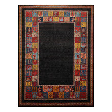 08' 01''x11' 08'' Charcoal Gold Rust Color Hand Knotted Persian 100% Wool Traditional Oriental Rug