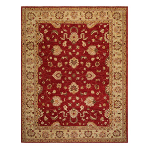 09' 03''x11' 11'' Rusty Red Light Gold Olive Green Color Hand Knotted Persian 100% Wool Traditional Oriental Rug