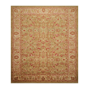09' 02''x12' 06'' Pistacchio Beige Brown Color Hand Knotted Persian 100% Wool Traditional Oriental Rug