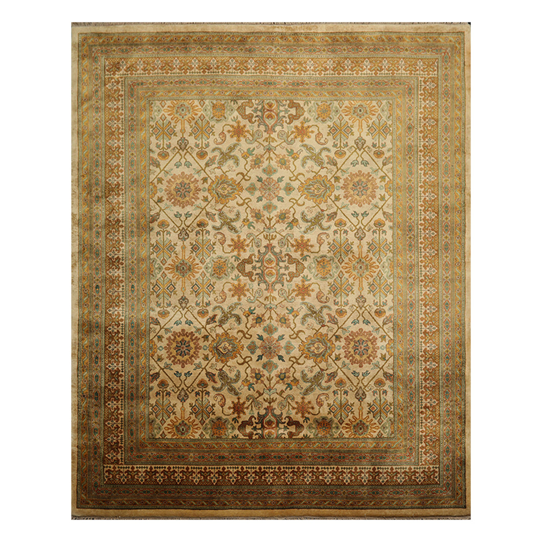 08' 02''x10' 03'' Light Gold Brown Turquoise Color Hand Knotted Persian 100% Wool Traditional Oriental Rug