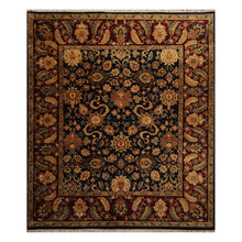 08' 01''x09' 06'' Navy Burgundy Gold Color Hand Knotted Persian 100% Wool Traditional Oriental Rug