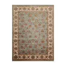 08' 06''x11' 06'' Aqua Ivory Rust Color Hand Knotted Persian 100% Wool Traditional Oriental Rug
