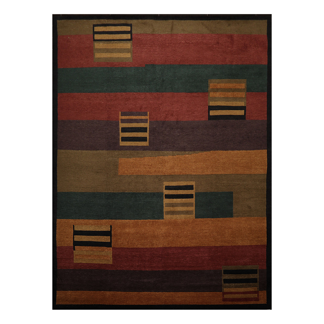 08' 11''x12' 00'' Gold Rust Charcoal Color Hand Knotted Tibetan 100% Wool Modern & Contemporary Oriental Rug