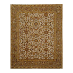 07' 09''x09' 09'' Beige Taupe Gold Color Hand Knotted Persian 100% Wool Traditional Oriental Rug