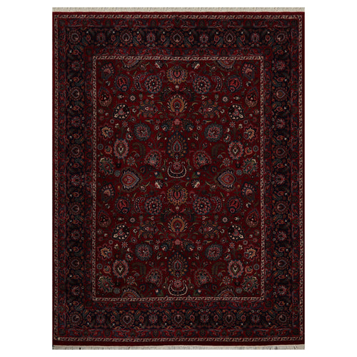 08' 10''x08' 10'' Burgundy Navy Sage Color Hand Knotted Persian 100% Wool Traditional Oriental Rug