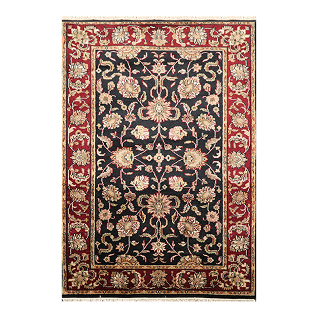 04' 01''x06' 00'' Black Burgundy Mint Color Hand Knotted Persian 100% Wool Traditional Oriental Rug