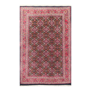 03' 10''x06' 00'' Midnight Blue  Pink Green Color Hand Knotted Persian 100% Wool Traditional Oriental Rug