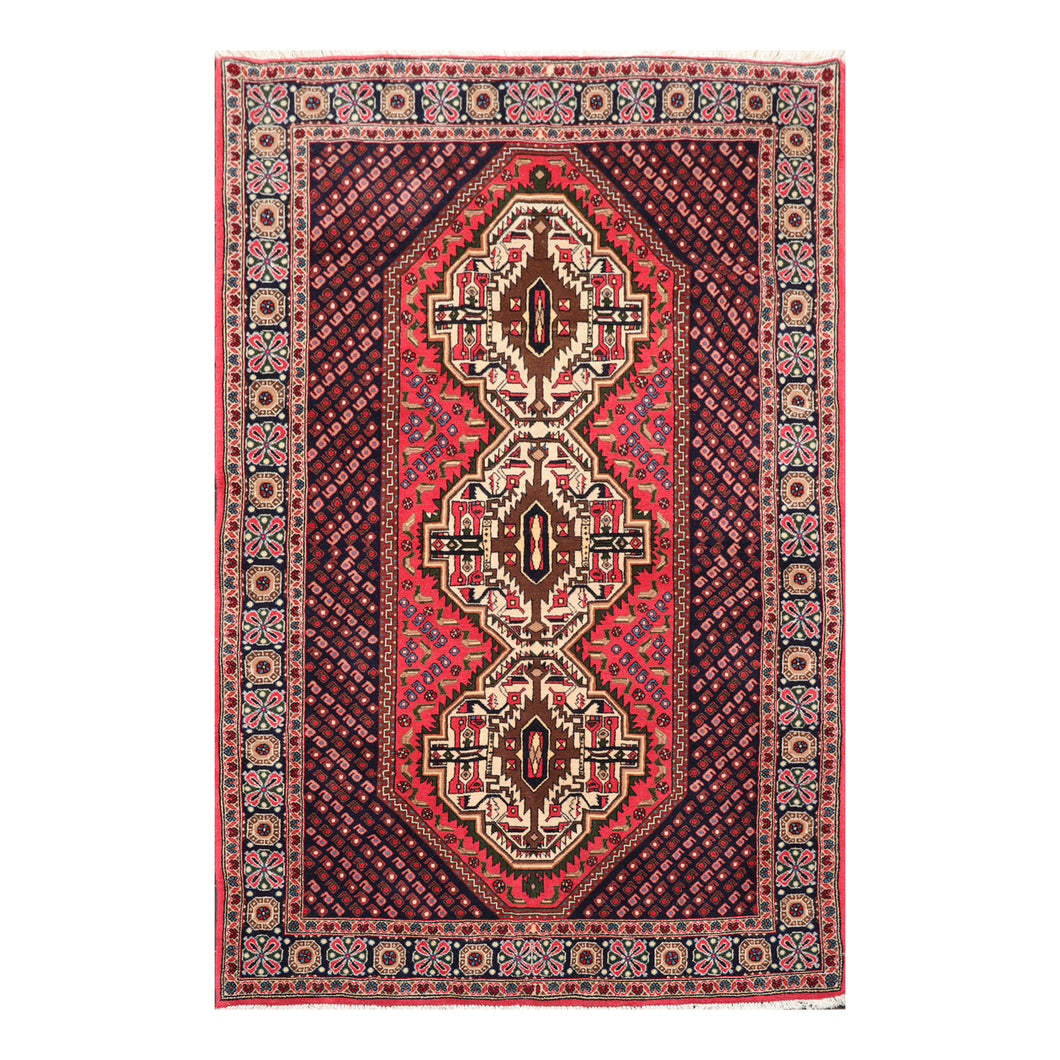04' 05''x06' 11'' Rose Navy Ivory Color Hand Knotted Persian 100% Wool Traditional Oriental Rug