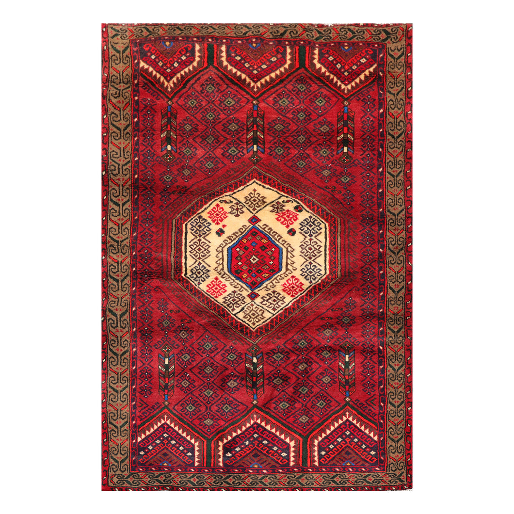04' 02''x06' 03'' Rusty Red Ivory Brown Color Hand Knotted Persian 100% Wool Traditional Oriental Rug