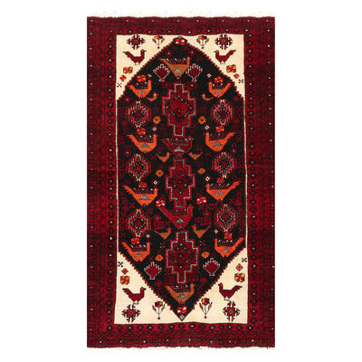 03' 06''x06' 00'' Charcoal Burgundy Burnt Orange Color Hand Knotted Persian 100% Wool Traditional Oriental Rug