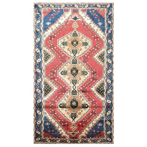 04' 03''x07' 07'' Ivory Rose Blue Color Hand Knotted Persian 100% Wool Traditional Oriental Rug
