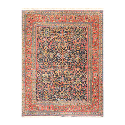 05' 03''x07' 01'' Bluish Gray Salmon Gold Color Hand Knotted Persian 100% Wool Traditional Oriental Rug