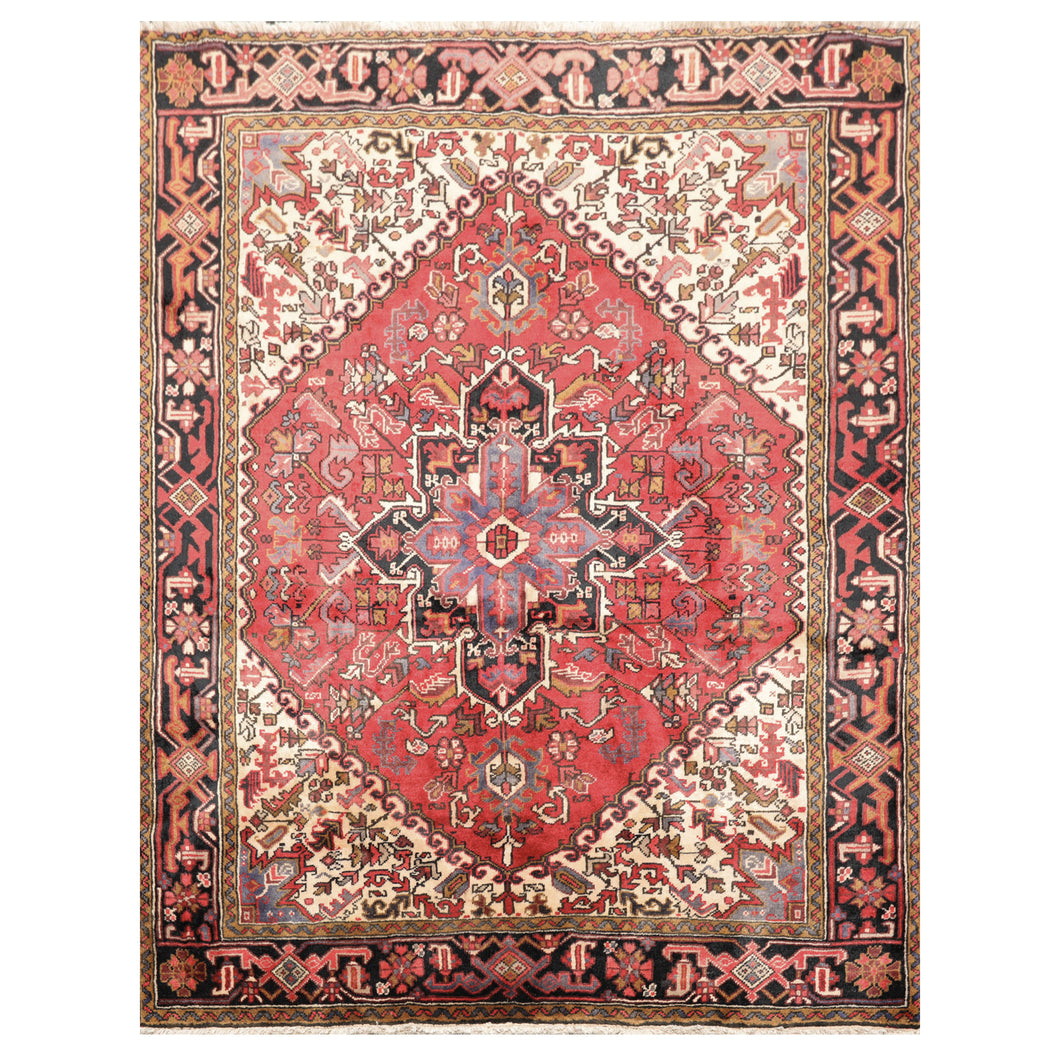 05' 00''x06' 05'' Red Ivory Black Color Hand Knotted Persian 100% Wool Traditional Oriental Rug