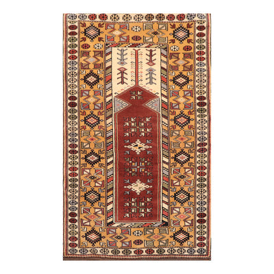 03' 06''x06' 00'' Brown Gold Beige Color Hand Knotted Persian 100% Wool Traditional Oriental Rug