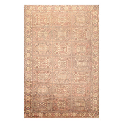 06' 06''x09' 11'' Ivory Rose Brown Color Hand Knotted Persian 100% Wool Traditional Oriental Rug
