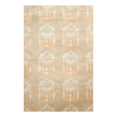 05' 01''x07' 08'' Tan Aqua Beige Color Hand Tufted Hand Made 100% Wool Modern & Contemporary Oriental Rug