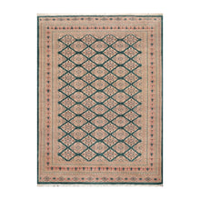 03' 00''x09' 01'' Teal Green Tan Beige Color Hand Knotted Persian Wool and Silk Traditional Oriental Rug