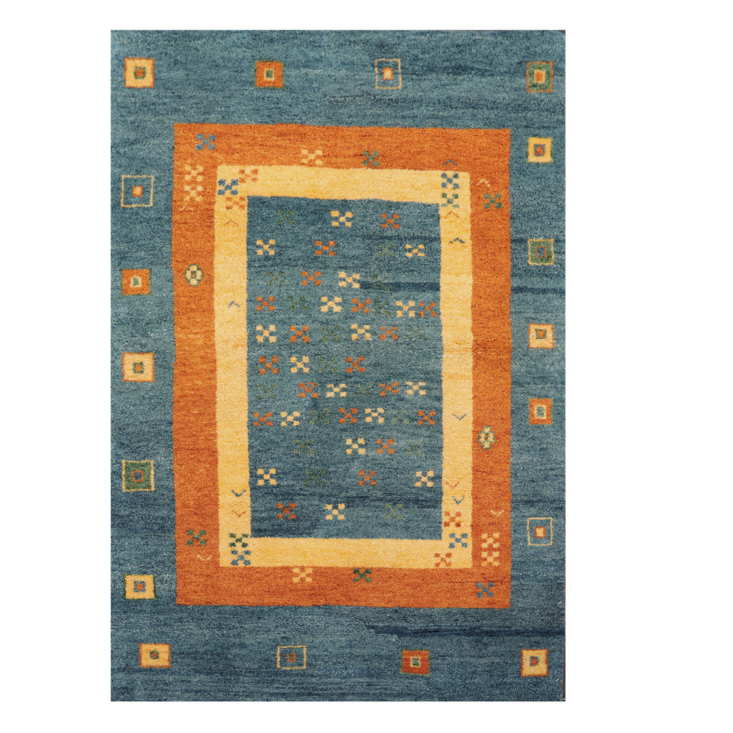 04' 00''x05' 11'' Blue Burnt Orange Dusty Gold Color Hand Knotted Persian 100% Wool Traditional Oriental Rug