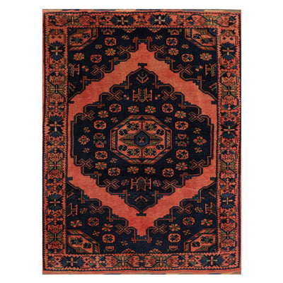 05' 00''x06' 07'' Navy Coral Brown Color Hand Knotted Persian 100% Wool Traditional Oriental Rug