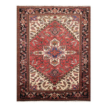 05' 00''x06' 06'' Rust Ivory Black Color Hand Knotted Persian 100% Wool Traditional Oriental Rug