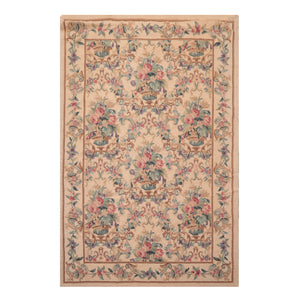 05' 05''x08' 04'' Aqua Brown Rose Color Hand Knotted Persian 100% Wool Traditional Oriental Rug
