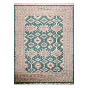 07' 01''x09' 06'' Teal Green Rose Ivory Color Hand Knotted Persian Wool and Silk Traditional Oriental Rug