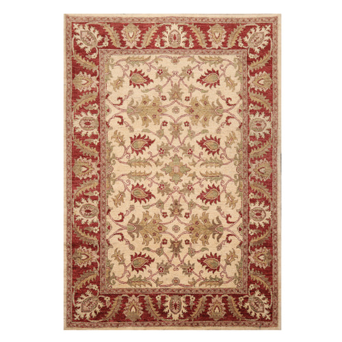 05' 09''x08' 04'' Beige Rust Sage Color Hand Knotted Persian 100% Wool Traditional Oriental Rug