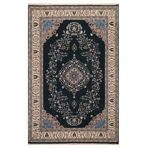 05' 11''x09' 05'' Midnight Blue  Ivory Taupe Color Hand Knotted Persian 100% Wool Traditional Oriental Rug