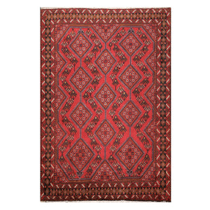 06' 07''x09' 09'' Red Charcoal Blue Color Hand Knotted Persian 100% Wool Traditional Oriental Rug