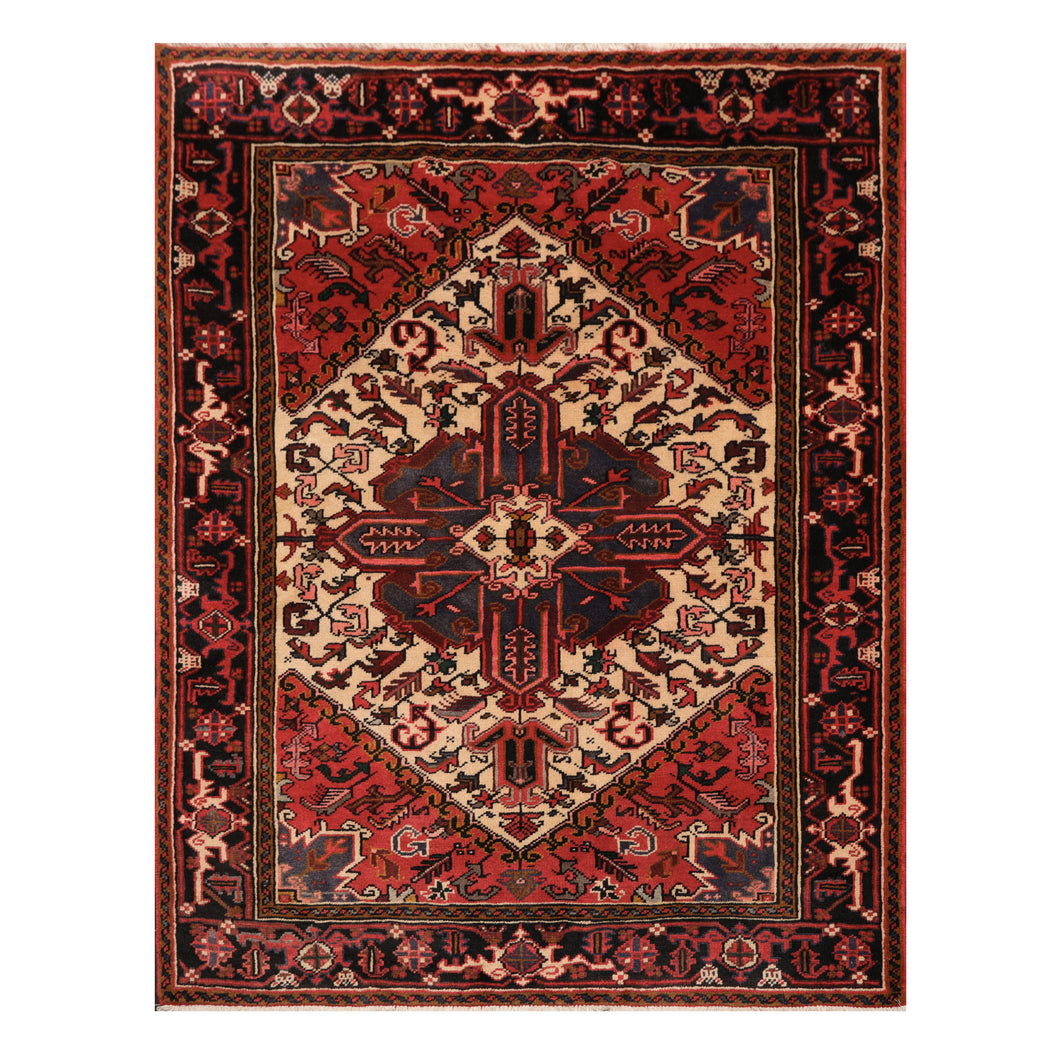 05' 01''x06' 06'' Ivory Red Black Color Hand Knotted Persian 100% Wool Traditional Oriental Rug