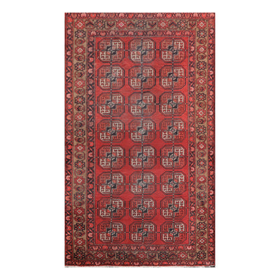 03' 09''x06' 08'' Red Tan Charcoal Color Hand Knotted Persian 100% Wool Traditional Oriental Rug