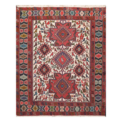03' 10''x04' 09'' Red Blue Green Color Hand Knotted Persian 100% Wool Traditional Oriental Rug