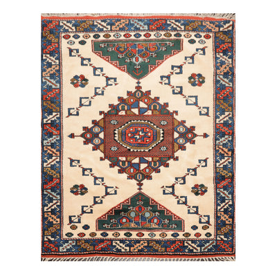 04' 07''x06' 00'' Ivory Blue Green Color Hand Knotted Persian 100% Wool Traditional Oriental Rug