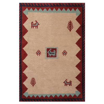 04' 01''x06' 01'' Beige Burgundy Navy Color Hand Knotted Persian 100% Wool Traditional Oriental Rug
