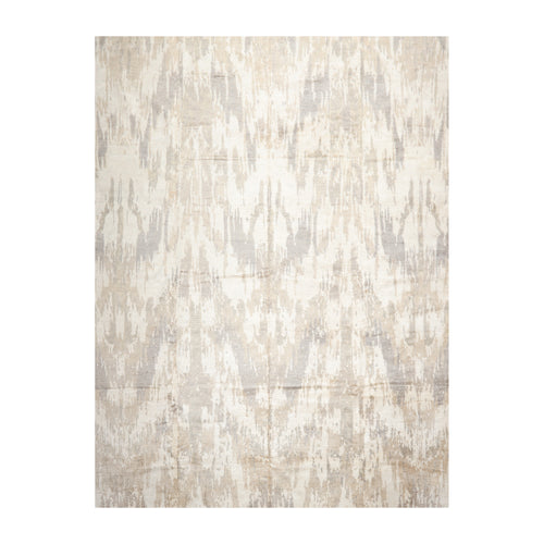 09' 01''x12' 01'' Ivory Tan Gray Color Hand Knotted Hand Made 100% Silk Modern & Contemporary Oriental Rug