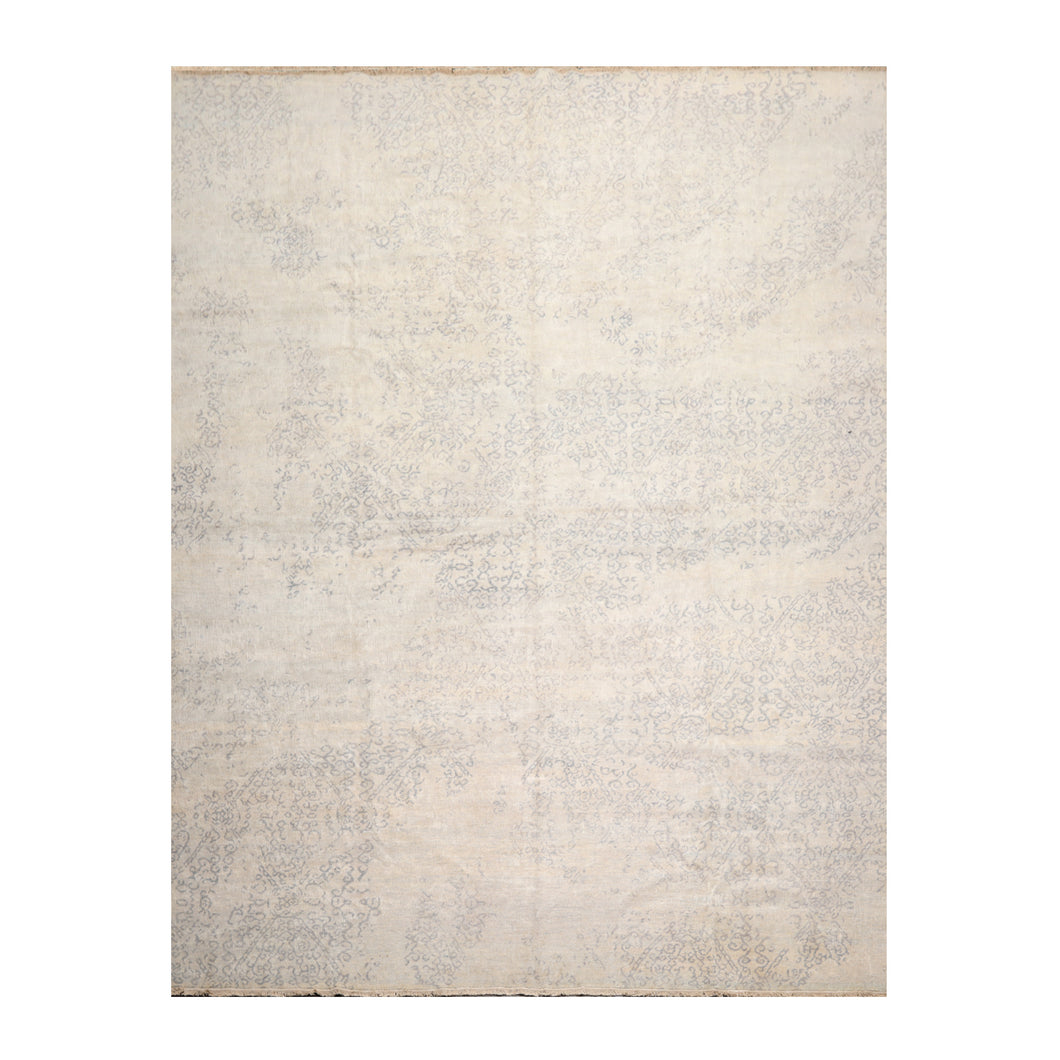 08' 11''x11' 11'' Tone On Tone Gray Color Hand Knotted Hand Made 100% Wool Modern & Contemporary Oriental Rug