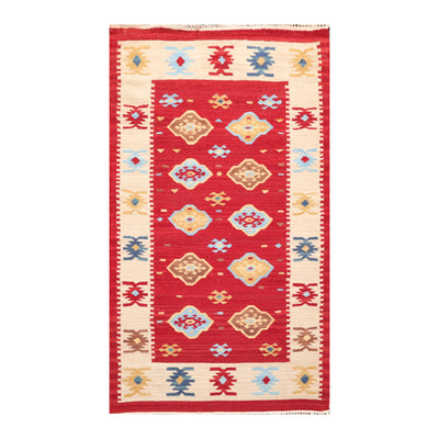 03' 00''x05' 00'' Red Beige Blue Color Hand Woven Persian 100% Wool Traditional Oriental Rug