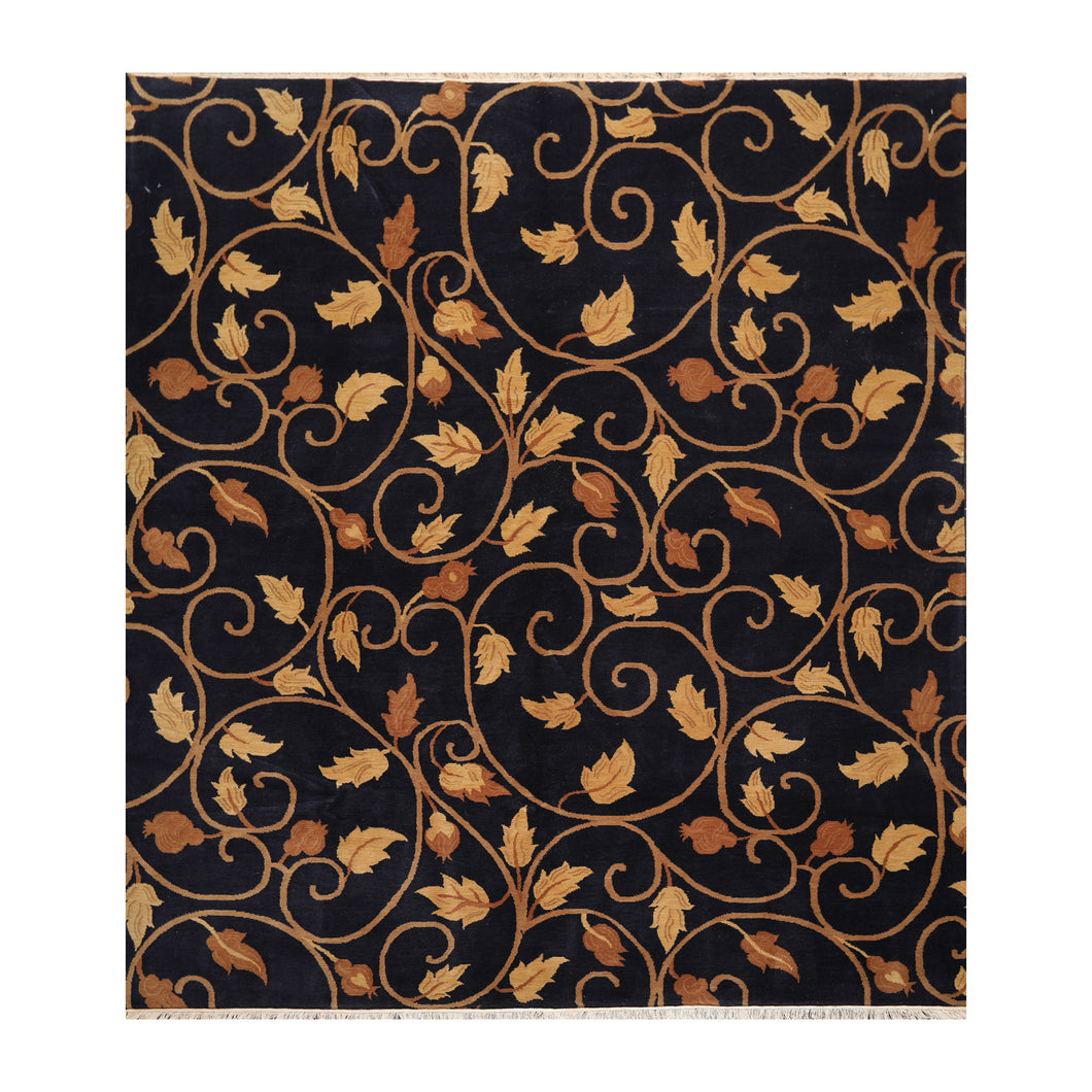 08' 00''x09' 10'' Navy Tan Brown Color Hand Knotted Tibetan 100% Wool Traditional Oriental Rug