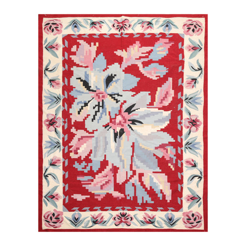 05' 06''x08' 06'' Red Ivory Blue Color Hand Woven Flat Weave 100% Wool Traditional Oriental Rug