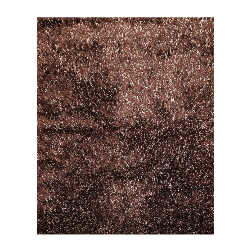 05' 03''x07' 06'' Chocolate White Color Hand Made Shag Polyester Modern & Contemporary Oriental Rug