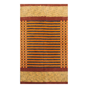 05' 05''x06' 04'' Slate Orange Rust Color Hand Knotted Tibetan 100% Wool Modern & Contemporary Oriental Rug