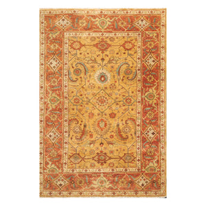 06' 00''x09' 00'' Caramel Rust Beige Color Hand Knotted Persian 100% Wool Traditional Oriental Rug