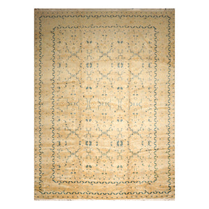 11' 09''x17' 11'' Gray Aqua Beige Color Hand Knotted Persian 100% Wool Traditional Oriental Rug