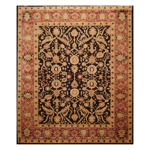 8' x9' 10'' Dark Chocolate Rose Tan Color Hand Knotted Persian 100% Wool Traditional Oriental Rug