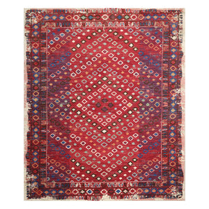 8' x11'  Red Ivory Blue Color Machine Made Persian 100% Wool Modern & Contemporary Oriental Rug