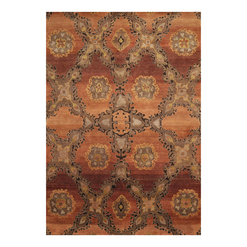 5' x8'  Peach Gray Gold Color Hand Knotted Tibetan 100% Wool Traditional Oriental Rug